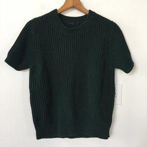 COS Chunky Knit Short Sleeve Sweater Dark Green